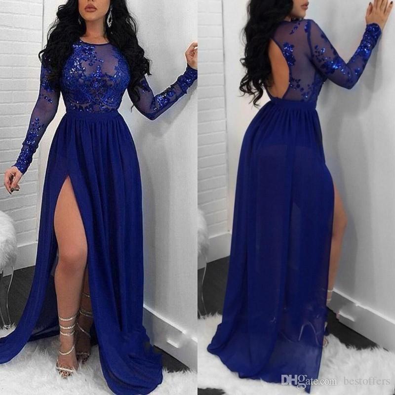 Sheer Long Sleeves Royal Blue Mermaid Prom Dresses 2019 Mermaid Paillettes Appliques Side Split Abiti da sera Backless BA9080