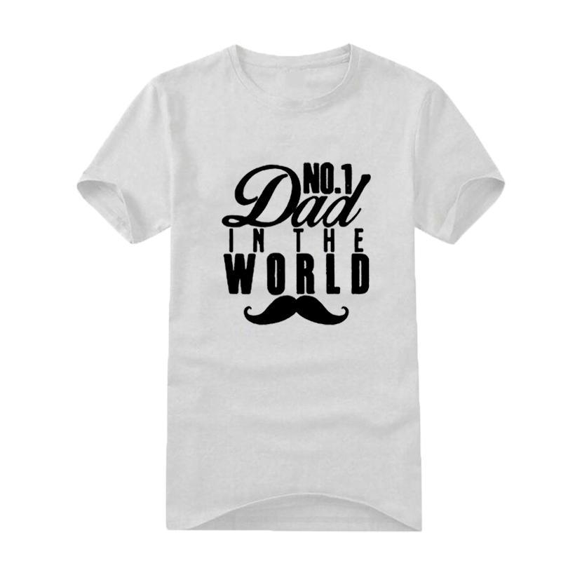 Erkekler T Gömlek Moda 2018 Baba Sloganı No. 1 Dünyada baba erkek Hipster Atasözü Baskı Pamuk Siyah Beyaz Tshirt En Iyi Baba Hediye