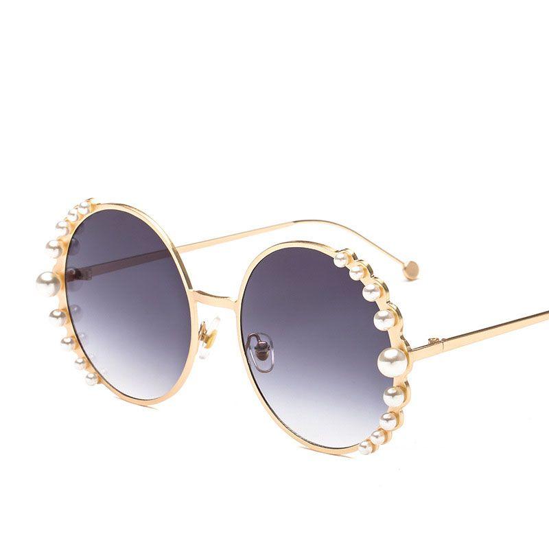 grandes perlas Mujeres Ronda de sol gafas de sol de manera femenino de gafas marcos de metal de oro estilo de playa de la vendimia de la aleación de gafas N203