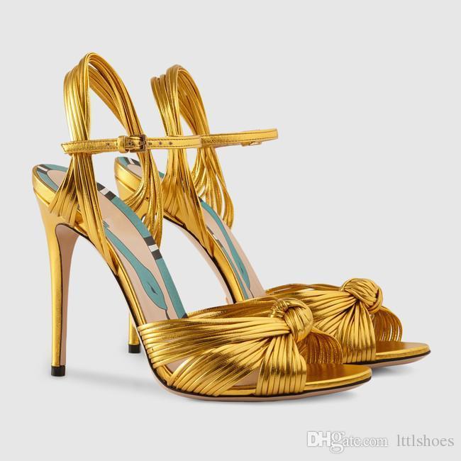2018 Marca de Design de Nó de Palha Mulheres Sandálias de Salto Stiletto Sexy Dedo Do Pé Aberto Ouro Verde Vermelho Fino Salto Alto Mulheres Sapatos de Festa de Casamento