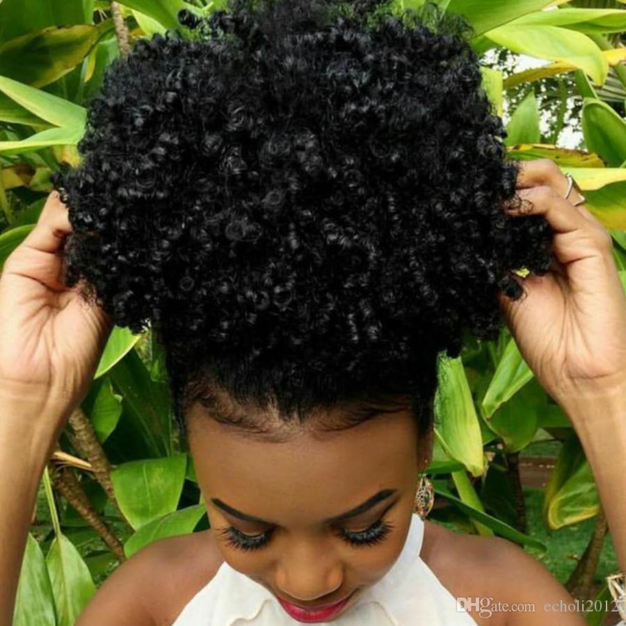 Moda Saç Aksesuarları Kısa Yüksek At Kuyruğu Saç Siyah Kadınlar Için Afro Kinky Kıvırcık İpli Ponytails Saç Uzantıları 140g