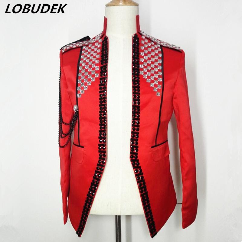 Kırmızı Beyaz Rhinestones Ceket Erkek Kostüm Tide Zinciri Coat Gece kulübü Punk Şarkıcı Sahne Kıyafet Dansçı Yıldız Performans Dış Giyim
