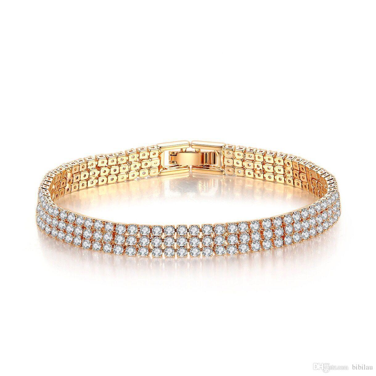 (346B) 18,3 см сияющий 3 линии полный Циркон браслет для женщин 2 золотой цвет выбор ювелирных изделий Моды свинца и никеля бесплатно