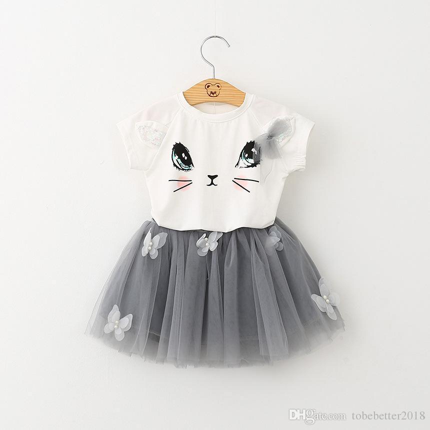 키즈 소녀 고양이 패턴 T 셔츠 최고 나비 투투 스커트 여름 드레스 옷 의류 세트 아기 드레스 공주 얇은 명주 그물 드레스 스윙