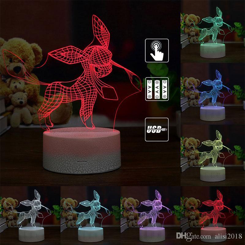 O presente de LED colorido fresco Glaceon Glacia 3D Lâmpada criativas Night Lights USB Decoração Abajur Criança
