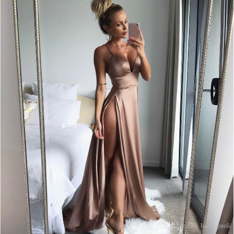 Women Satin Gold Split Summer 2018 Long Maxi Party Dress Tunic Spaghetti Strap Club Sexy Dress female Vestido Elegant backless long dress