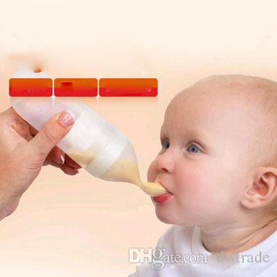 안전 귀여운 아기 쌀 붙여 넣기 숟가락 병 유아 보완 음식 짜기 병 우유 주스 병 90 ml 교육 실리콘을 먹고