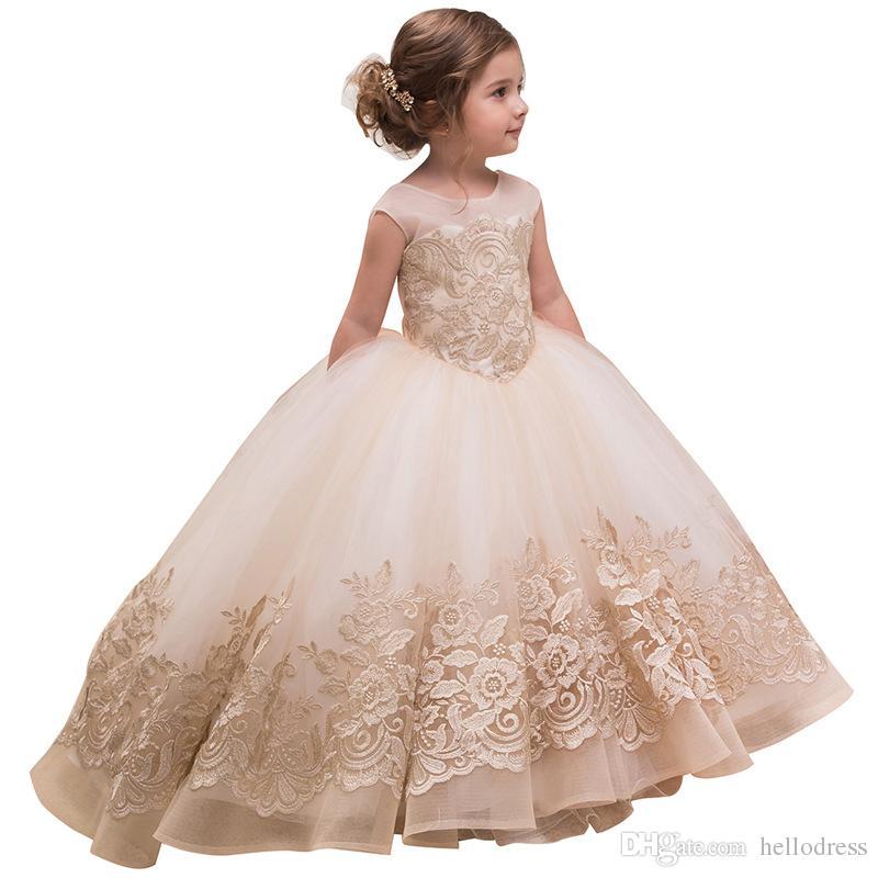 Compre Vestidos De Gala Para Niñas Vestidos Con Mangas De Encaje Cuello Transparente V De Espalda Con Lazo Vestidos Formales Para Niñas Para La Fiesta