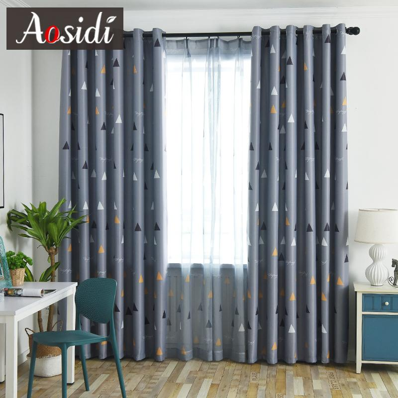 2019 Triangular Pattern Blackout Curtains For Bedroom Living Room Modern  Gray Curtain Kid\'S Room Tulle And Curtain Cortina Para Sala From  Kunnylight, ...