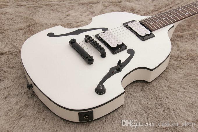 희귀 PGM700 PGM 700 폴 길버트 MIJ 바이올린 화이트 일렉트릭 기타 더블 F 구멍 페인트, 블랙 하드웨어 바디, 이중 단일 코일 PU 바인딩