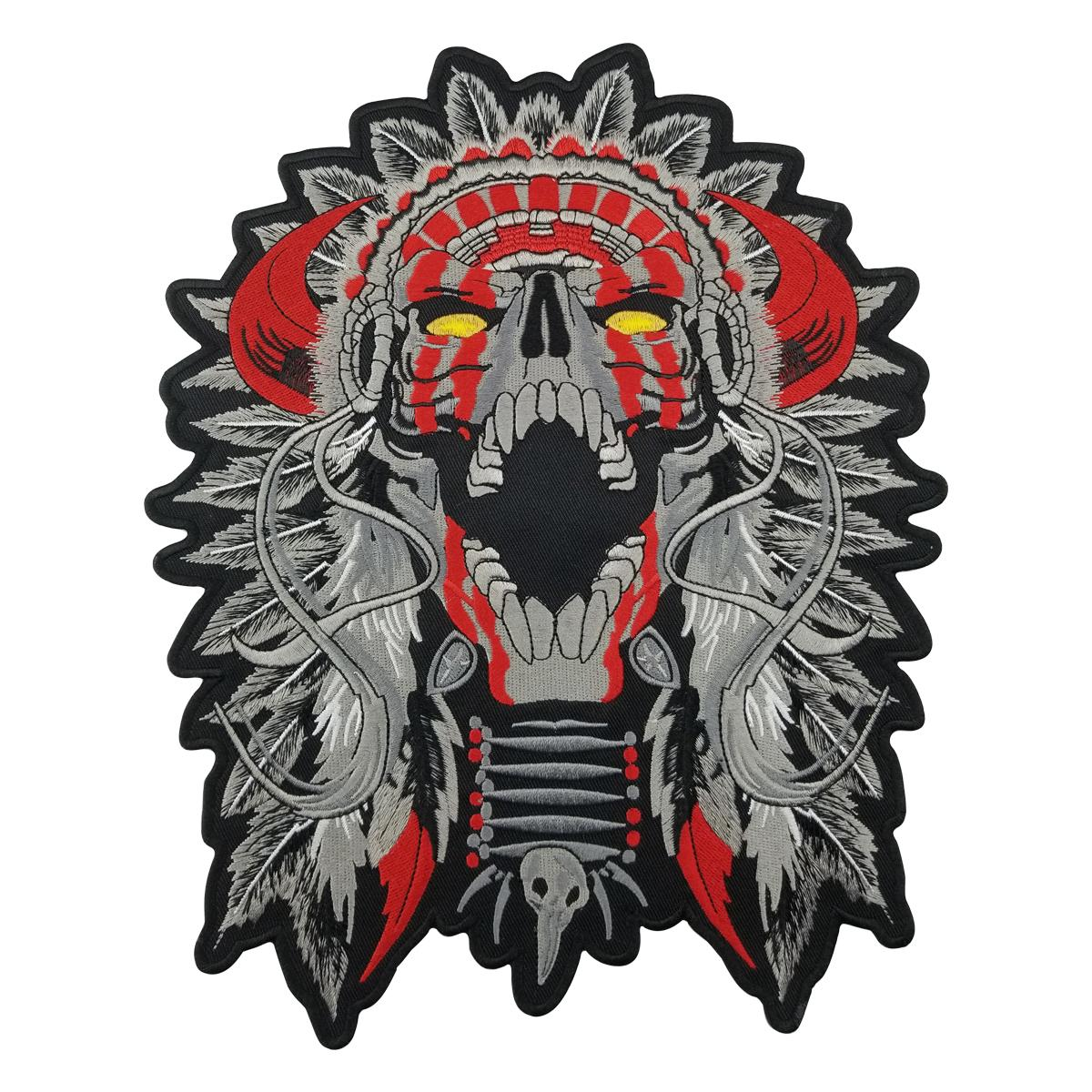"Free Shipping LARGE HORNED CHIEF DEATH SKULL INDIAN MOTORCYCLE BIKER BACK PATCH 11"" MC RIDER Vest Patch"
