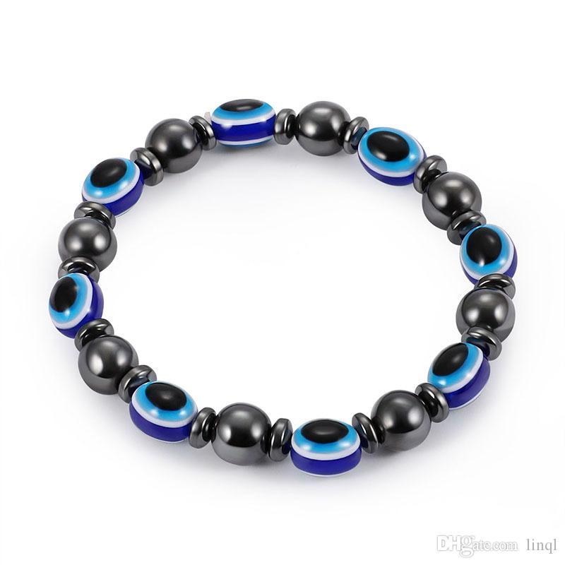 gallstone noir magnétique bracelet élastique Fashion Resin Blue Evil Eye pierre Bracelets pour les femmes Perles Chaîne Bijoux Cadeaux KKA1695