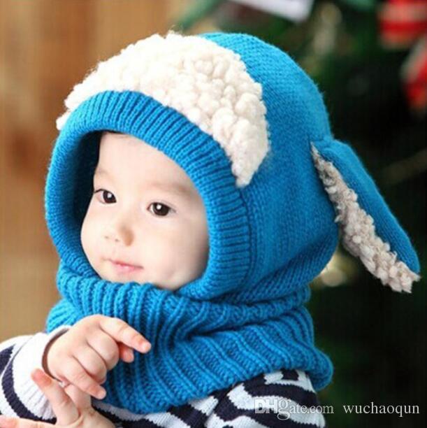 Geri okul Çocuklar Kış Şapka Toptan Sıcak Tutmak Tavşan Kulaklar Tığ Pamuk Bebek Şapka Örme Fotoğraf Sahne BY0362