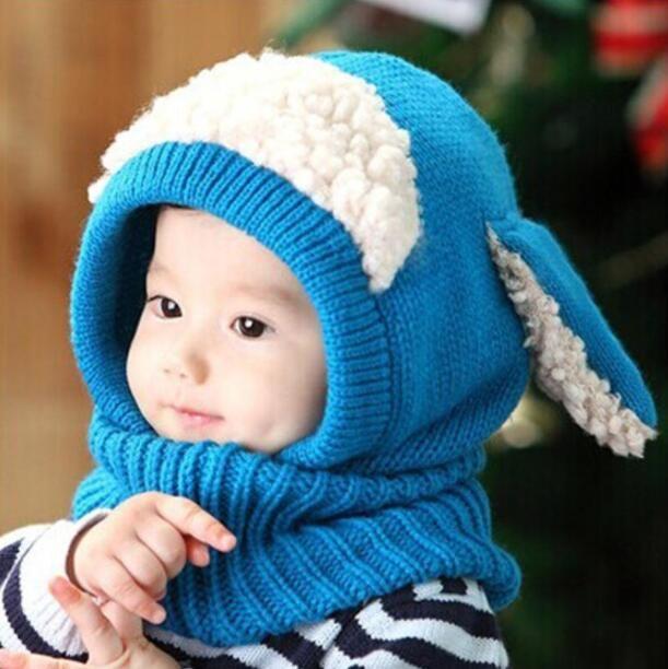 Volver a la escuela niños sombreros de invierno al por mayor Keep Warm Bunny Orejas Crochet Cotton Baby Hat tejer apoyos de la fotografía BY0362
