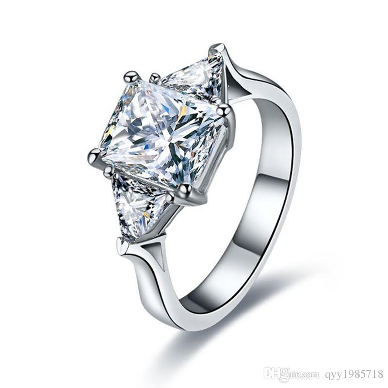 Anello di fidanzamento con diamante sintetico BRILLANTE 3Ct, taglio smeraldo, per anello in platino placcato in argento sterling 925