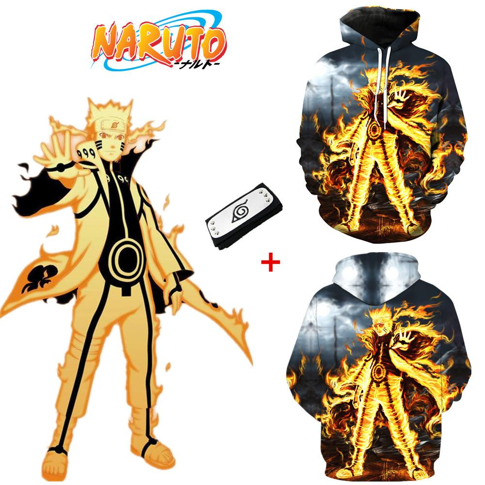 Asian Size Japan Anime Naruto 3D Flame Cosplay Costume Casual 3D Black Unisex Coat Jacket Long Sleeve Hoodie Headband