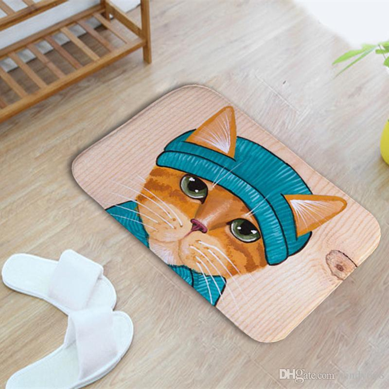 Cute Cat Stampato Cucina Toilette Bagno Tappeto Multi Colore antiscivolo Tappetino da bagno Acqua Assorbente Gatto WC Tappetino Tappeto Tappeto Per Cucina Pad