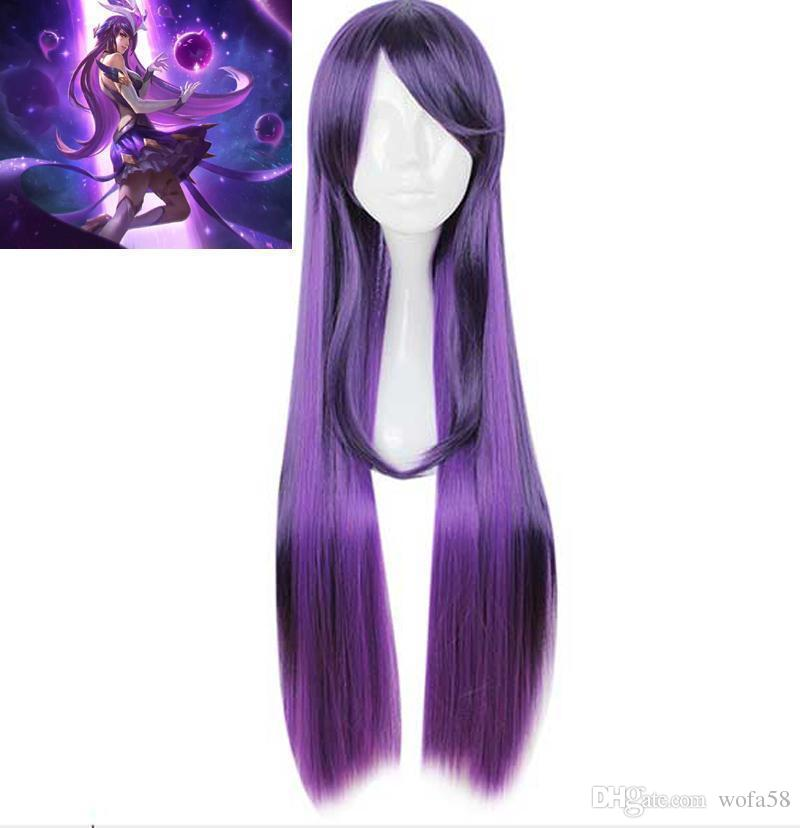 LOL Syndra Star Guardians Peruca Soberana Cosplay Longo Roxo Natural