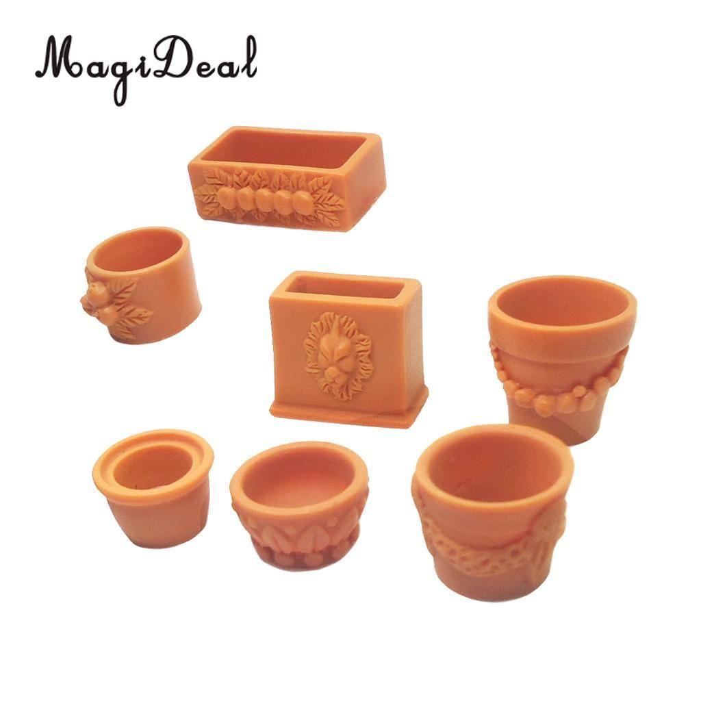 1:12 Scale Dollhouse Miniature Clay Flowers in Rattan Pot Planter Fairy Gar LA