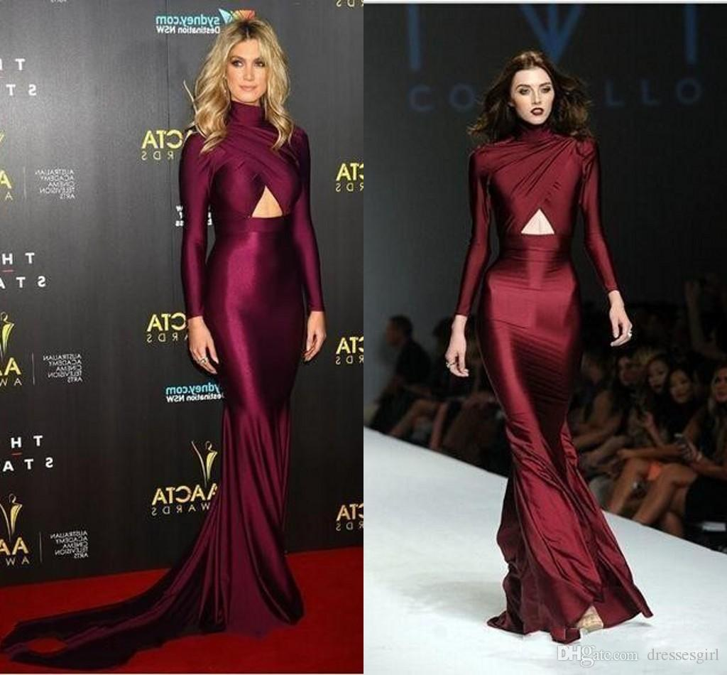 Michael Costello Long Sleeves Burgundy Prom Dresses Runny Way High Neck Plus Size Evening Dresses Mermaid Style Vestidos de Noche