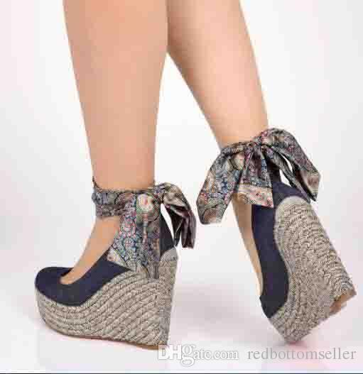 2018120mm 레드 하단 쐐기 하이힐 펌프 바바리 엣파 블루 데님 앵클 보우 타이, 럭셔리 여성 파티 웨딩 펌프 신발