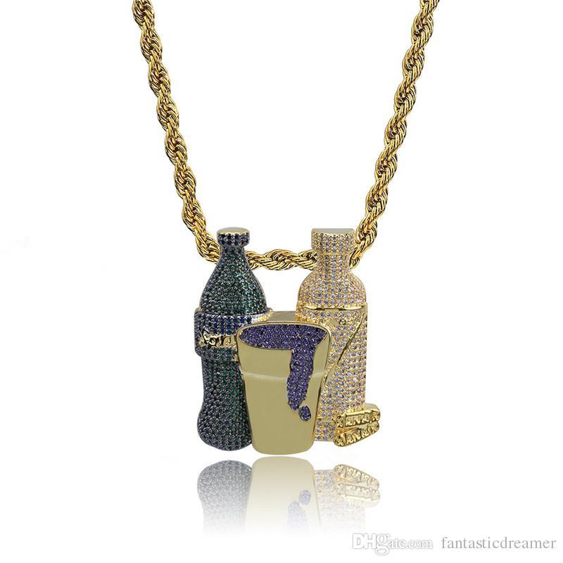 Usine Bas Prix Hiphop Bouteille De Vin Collier Complet CZ Micro Pavé Pendentif Collier De Mode Icedout Pendentif Hip-hop Hommes Bijoux Accessoire