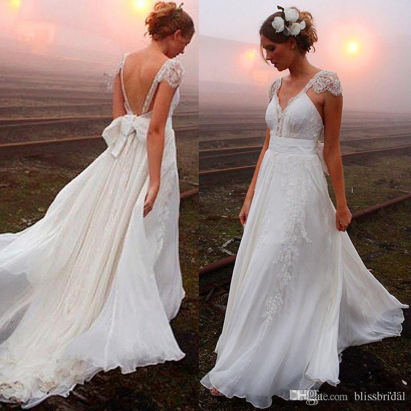 Sexy Backless Beach Wedding Dresses Chiffon A Line Deep V Neck Backless Lace With Bow Sash Custom Made Boho Sweep Train Bridal Gowns