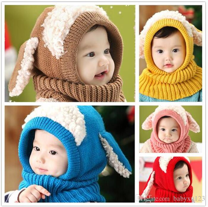 20pcs Inverno Baby Hat e sciarpa congiunta con berretti a maglia all'uncinetto per neonati ragazzi ragazze bambini bambini scaldacollo Y253