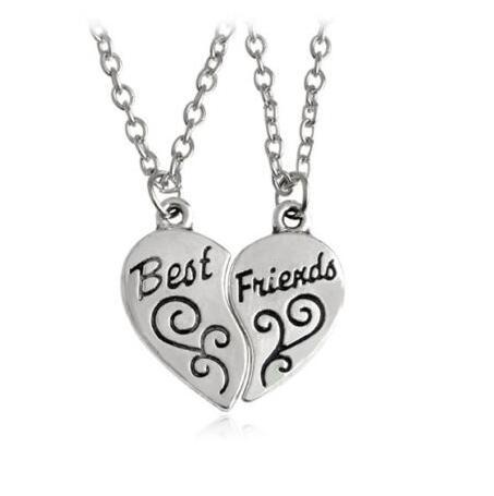 Vintage Silver Best Friends Key Partners In Crime Half Heart Yin Yang Necklace Pendant For Women Jewelry Couple Girl Bijoux B708
