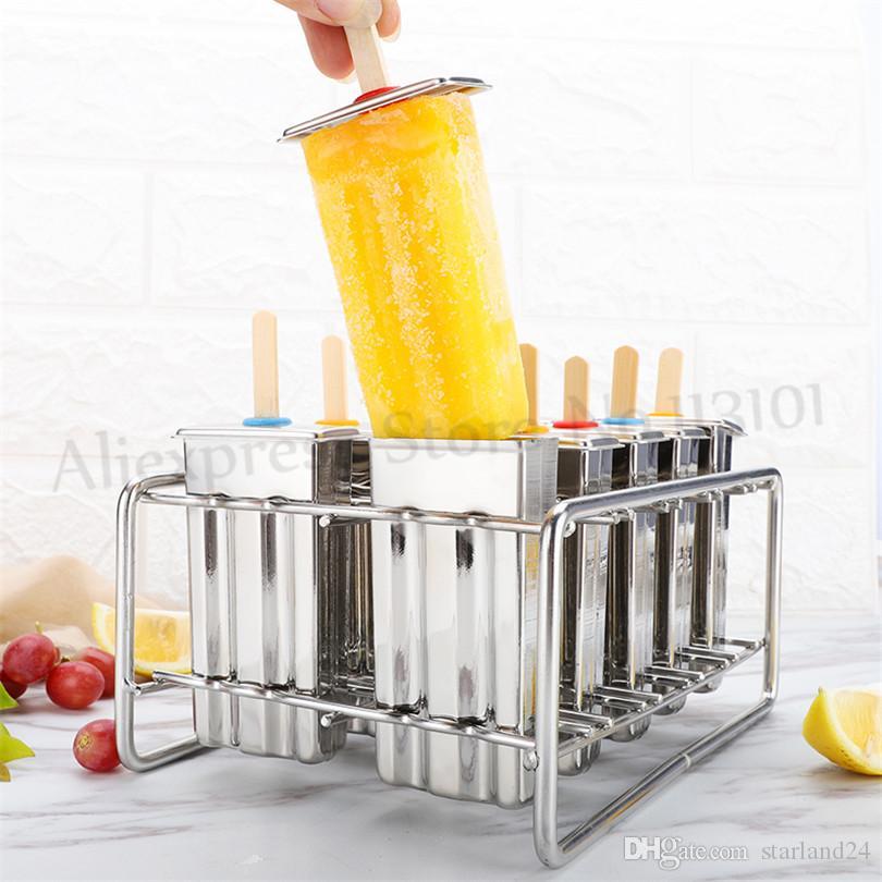 Dondurma Pop Kalıp Ev DIY Popsicle Lolly Kalıp 6 adet / Toplu 304 Paslanmaz Çelik Mutfak Aletleri Robot Kaynaksız Sorunsuz