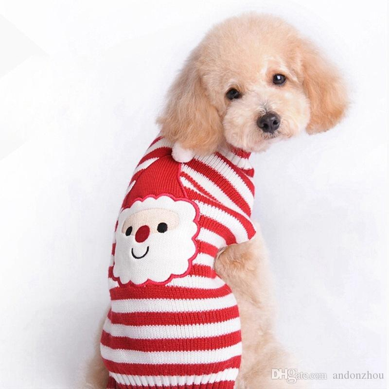 Pet Dog Clothes For Christmas New Year Stripe Santa Claus Design Puppy Dog Sweaters Apparel Wholesale
