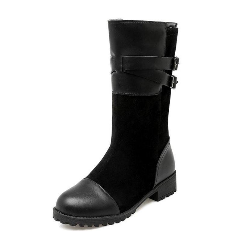 RizaBina Women Block Heel Mid Calf Boots