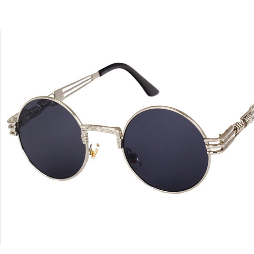 Homme Steampunk Lunettes De Soleil Round Miroir vintage mirror cool rétro Eyewear