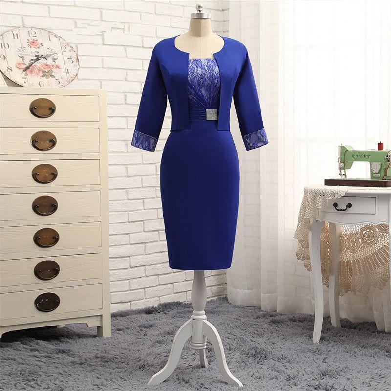 2018 gaine de satin bleu waishidress mère de la mariée robes robe plus la taille des invités de mariage robe à manches longues deux pièces robes de soirée