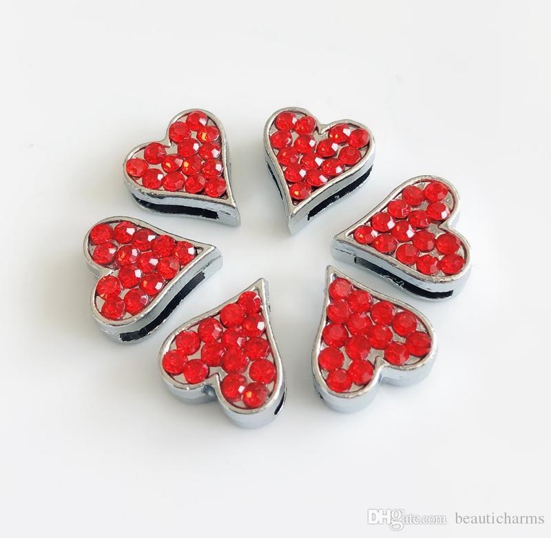10 pezzi 8mm strass cuore rosso scorrere fascini perline fai da te accessori misura 8mm collare cinture bracciali