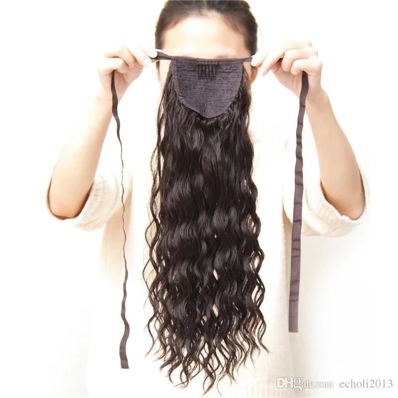 Facile da indossare Wet ondulato Coda di pony Extension Alta qualità Coda di capelli umani Capelli Wrap Around Ponytail capelli umani