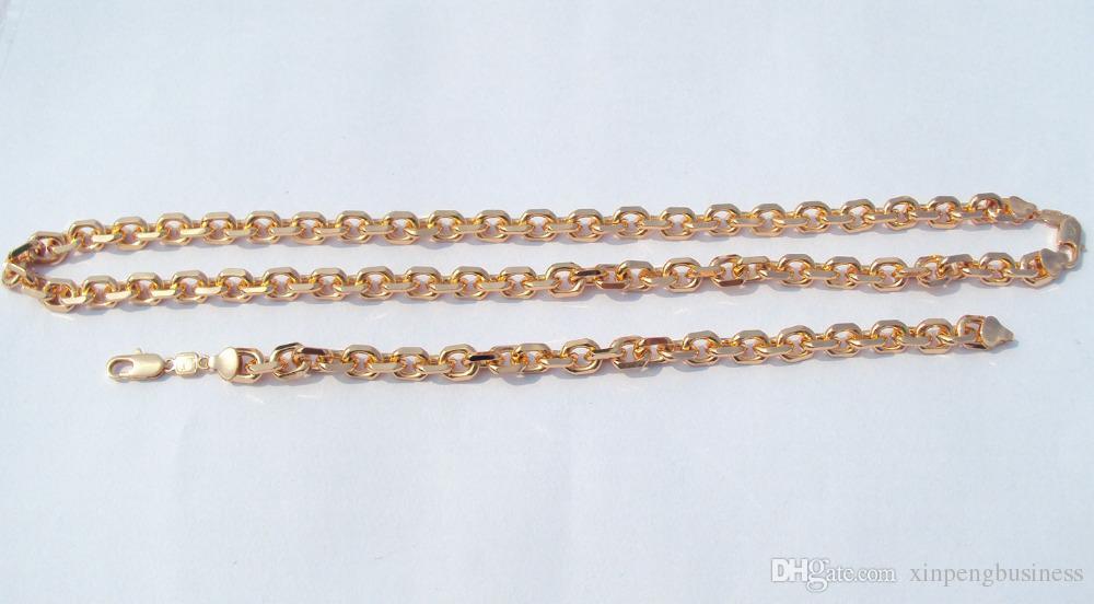 """Реальный свет 18 КТ DARKGOLDENROD 18 КТ цельное золото заполнены широко открытой ссылке снаряженная цепь мужские женские ожерелье 24 """" браслет набор S20A"""
