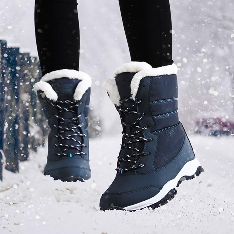 LAKESHI Женщина сапоги зима снег сапоги Женщина лодыжки черный мода 2018 год новый Keep Warm Повседневная обувь