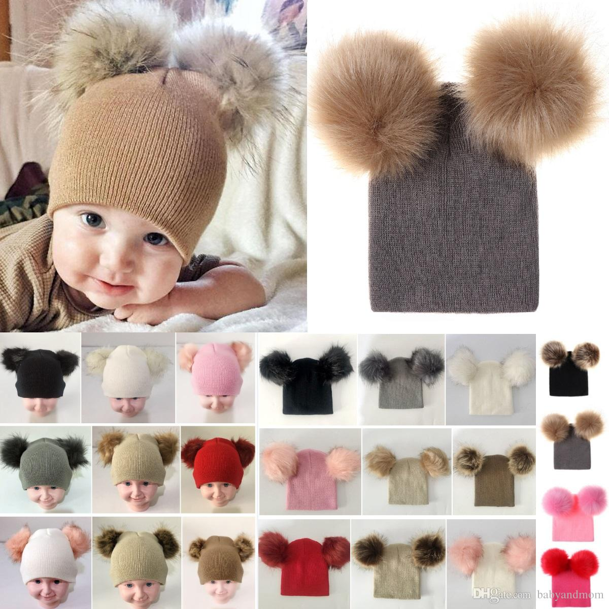 Kids Warm Crochet Hats Toddler Knitted Beanie with 2 Plush Fur Balls Children Pom Poms Cap 17 colors