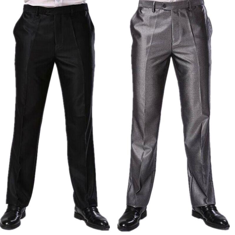 Compre Hombres Pantalones Dos Colores Formales Pantalones De Vestir De Negocios Tallas Grandes Slim Fit Marca Diseno Largo Pantalon Ajustado Cbj F1317 A 27 79 Del Wochanmei Dhgate Com