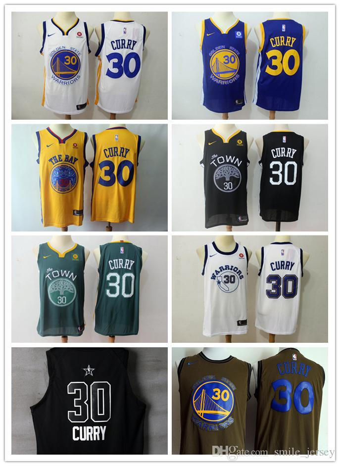 release date eae50 aae1c 2018 2019 Mens 30 Stephen Curry Golden State Warriors Basketball Jerseys  Stitched Mesh Dense Au Warrior Stephen Curry All Star Basketball Jersey  From ...