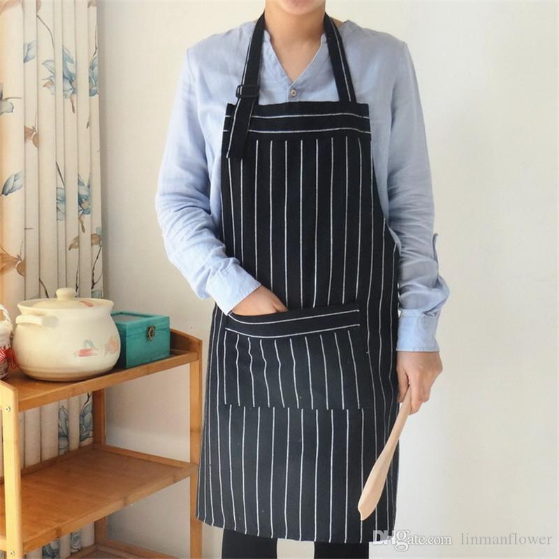 مآزر جديدة بسيطة أسود أزرق شريط موحد للجنسين الكبار مآزر للمرأة الرجل الذكور سيدة مطبخ الطبخ pinafores