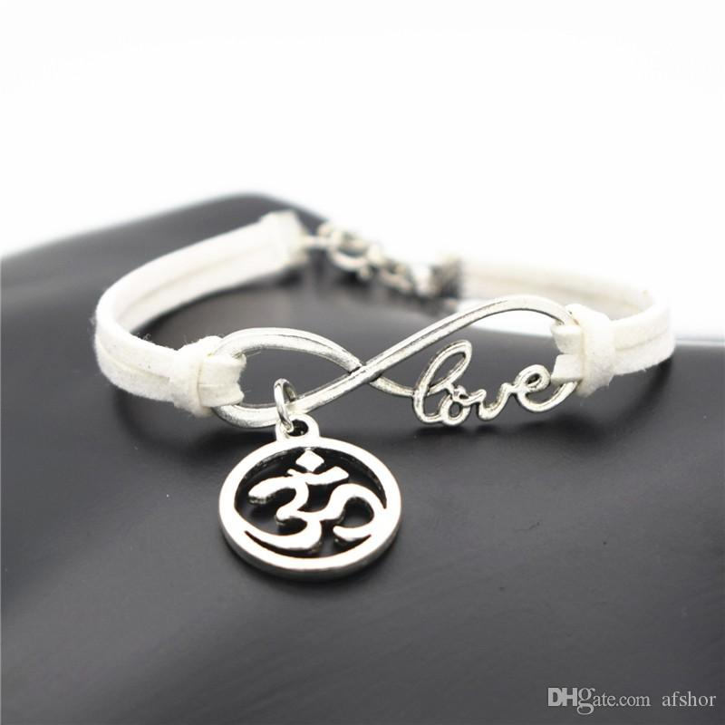 AFSHOR Fashion Women OL Style Handmade Beautiful Girls Xmas Gift 2018 Love Infinity OM AUM 3D OHM Symbol Yoga Charms Leather Bracelet Bangle