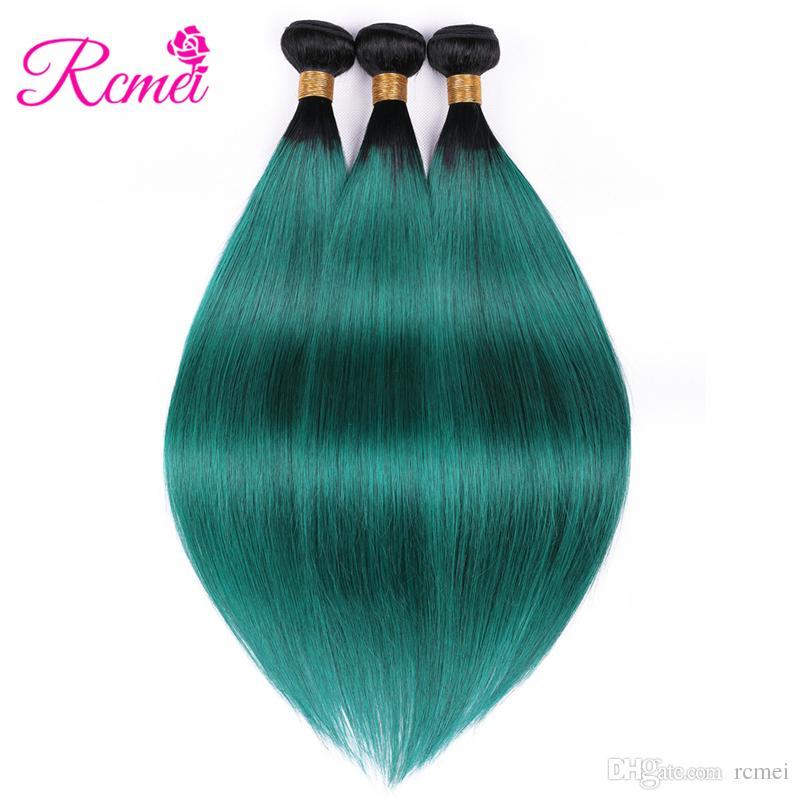 Rcmei 휴먼 헤어 번들 1B / Green Ombre 브라질 스트레이트 헤어 번들 Pre-Colored Human Hair Weft 3 번들 팩 무료 배송