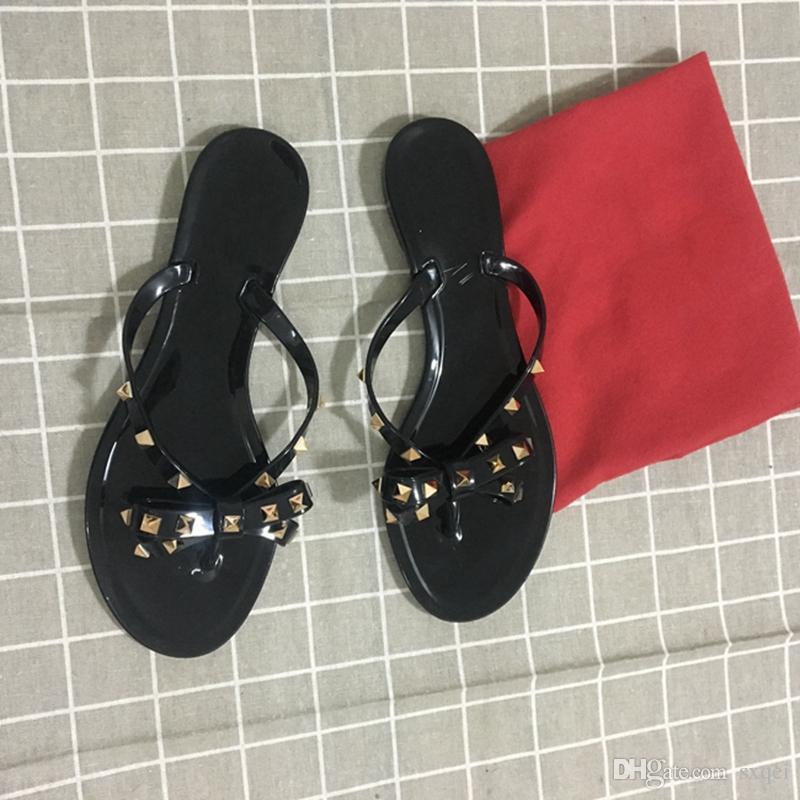 여성 디자이너 슬리퍼 리벳 큰 bowknot 플립 퍼 비치 Sandalias Femininas 플랫 젤리 여성 디자이너 샌들 무료 DHL 신발