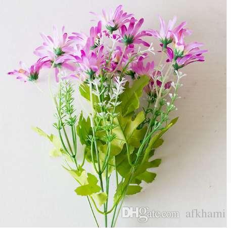 Flores artificiais para decora o 18 Heads Flower Small Artificial Plants Grass Fake Floral Plastic Silk Eucalyptus Flowers