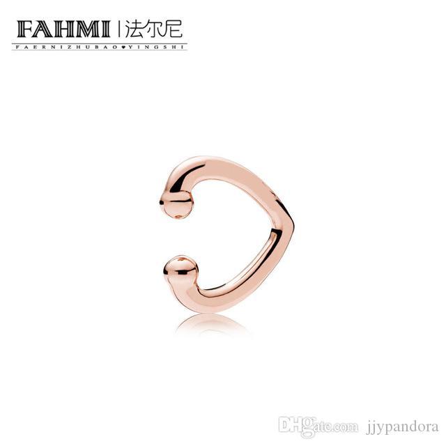 FAHMI 100% 925 plata esterlina 1: 1 estilo exquisito original Noble 287214 OPEN HEART EAR CUFF pendientes de oro rosa joyería de las mujeres