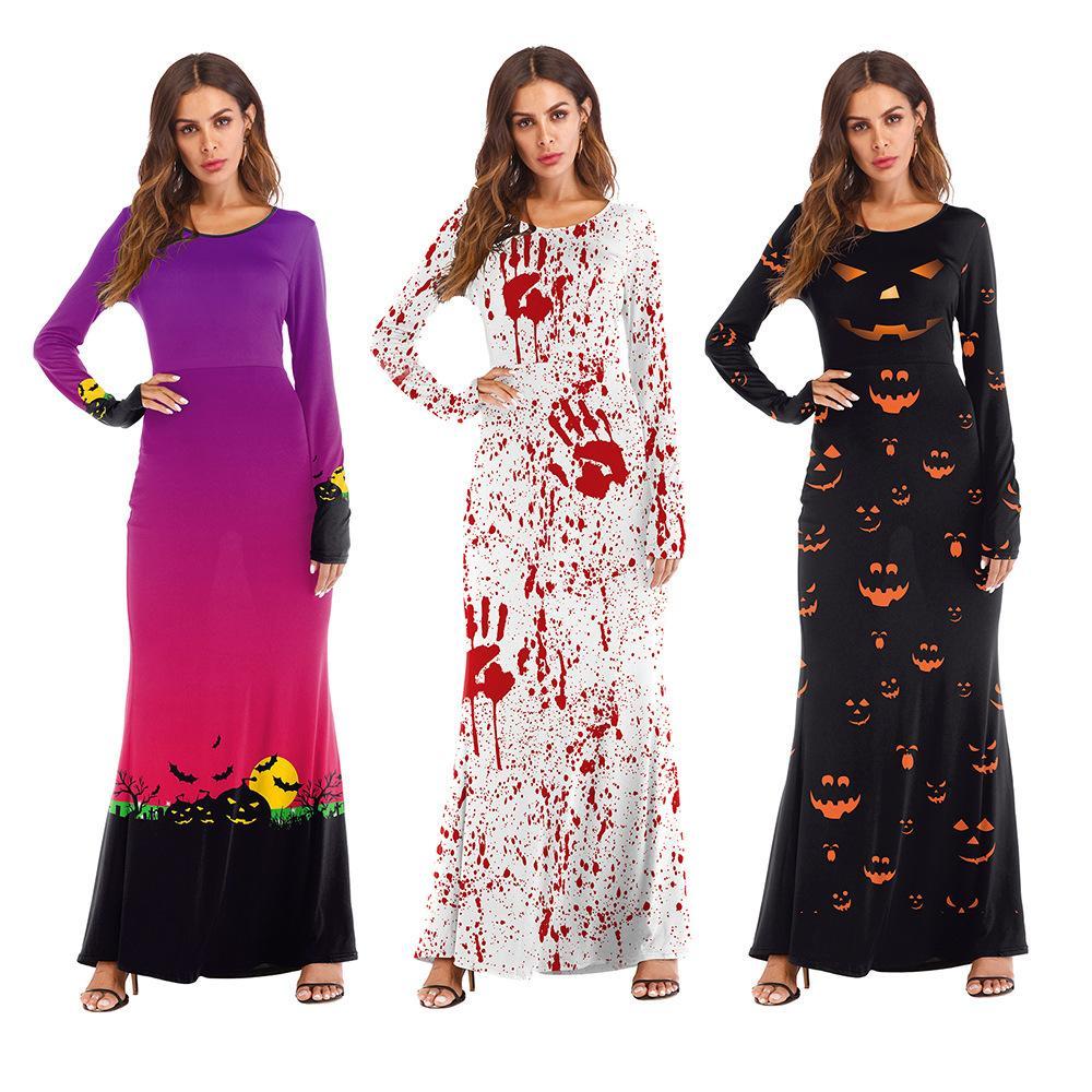 Halloween novo produto COS traje vestido fantasmas ocidentais abóbora lanterna masquerade vestido de manga longa