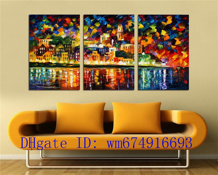 City Night Lake, 3 Stück Wohnkultur HD gedruckt moderne Kunst Malerei auf Leinwand (ungerahmt / gerahmt)