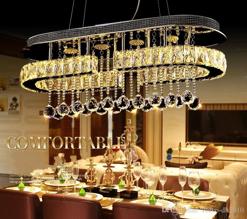 New Nordic Modern Chrome Lampada a sospensione LED Hall Crystal Pendent Lights Cucina LED Lustres PER cena / soggiorno LLFA